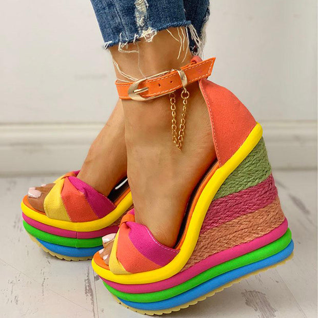 Colorful Espadrille Muffin Wedge Sandals - Shop Shiningbabe - Womens Fashion Online Shopping Offering Huge Discounts on Shoes - Heels, Sandals, Boots, Slippers; Clothing - Tops, Dresses, Jumpsuits, and More.