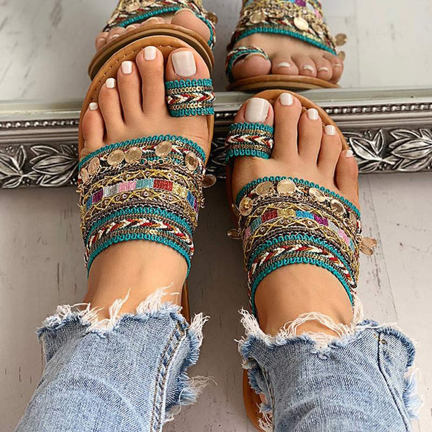 Bohemian Toe Ring Fashion Flats Sandals - Shop Shiningbabe - Womens Fashion Online Shopping Offering Huge Discounts on Shoes - Heels, Sandals, Boots, Slippers; Clothing - Tops, Dresses, Jumpsuits, and More.