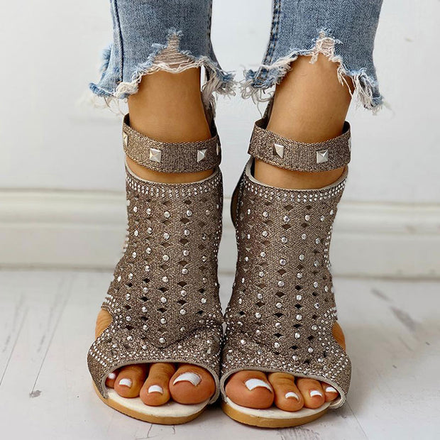 Rivet Detail Cutout Flat Sandals - Shop Shiningbabe - Womens Fashion Online Shopping Offering Huge Discounts on Shoes - Heels, Sandals, Boots, Slippers; Clothing - Tops, Dresses, Jumpsuits, and More.