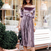 Off Shoulder Pleated Four-quarter Sleeve Dress - Shop Shiningbabe - Womens Fashion Online Shopping Offering Huge Discounts on Shoes - Heels, Sandals, Boots, Slippers; Clothing - Tops, Dresses, Jumpsuits, and More.