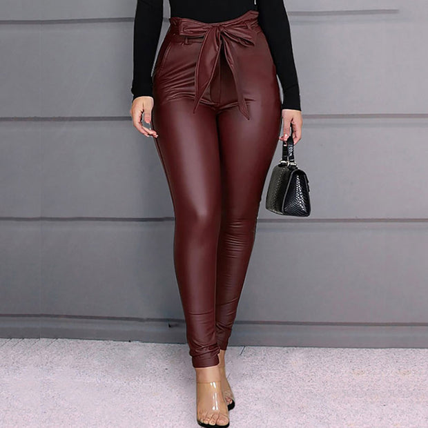 Paperbag Waist Faux Leather Pants - Shop Shiningbabe - Womens Fashion Online Shopping Offering Huge Discounts on Shoes - Heels, Sandals, Boots, Slippers; Clothing - Tops, Dresses, Jumpsuits, and More.