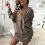 Casual Crew Neck Sweater Dress - Shop Shiningbabe - Womens Fashion Online Shopping Offering Huge Discounts on Shoes - Heels, Sandals, Boots, Slippers; Clothing - Tops, Dresses, Jumpsuits, and More.