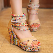 Bohemian Color String Bead Chain Wedge - Shop Shiningbabe - Womens Fashion Online Shopping Offering Huge Discounts on Shoes - Heels, Sandals, Boots, Slippers; Clothing - Tops, Dresses, Jumpsuits, and More.