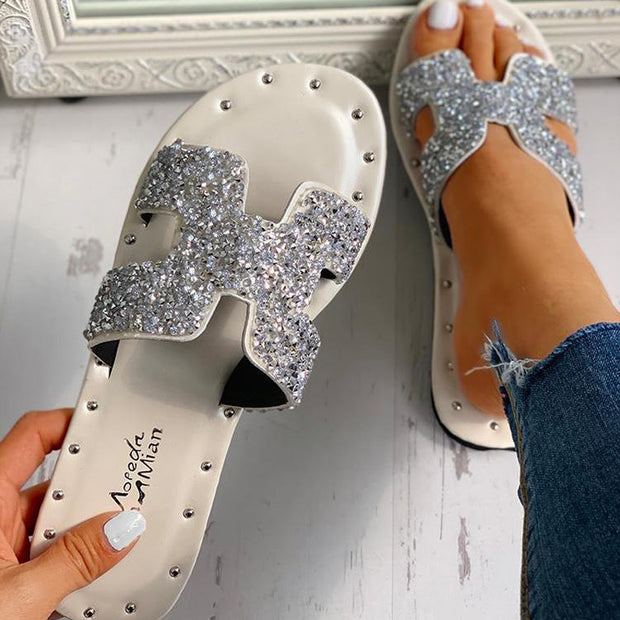 Fashion Sequins H-shaped Sandals - Shop Shiningbabe - Womens Fashion Online Shopping Offering Huge Discounts on Shoes - Heels, Sandals, Boots, Slippers; Clothing - Tops, Dresses, Jumpsuits, and More.