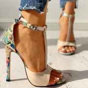 Contrast Color Floral Splicing Ankle Strap Heeled Sandals - Shop Shiningbabe - Womens Fashion Online Shopping Offering Huge Discounts on Shoes - Heels, Sandals, Boots, Slippers; Clothing - Tops, Dresses, Jumpsuits, and More.