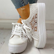 Colorblock Eyelet Hollow Out Lace-Up Sneakers - Shop Shiningbabe - Womens Fashion Online Shopping Offering Huge Discounts on Shoes - Heels, Sandals, Boots, Slippers; Clothing - Tops, Dresses, Jumpsuits, and More.