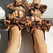 Leopard Bowknot Design Flat Sandals - Shop Shiningbabe - Womens Fashion Online Shopping Offering Huge Discounts on Shoes - Heels, Sandals, Boots, Slippers; Clothing - Tops, Dresses, Jumpsuits, and More.