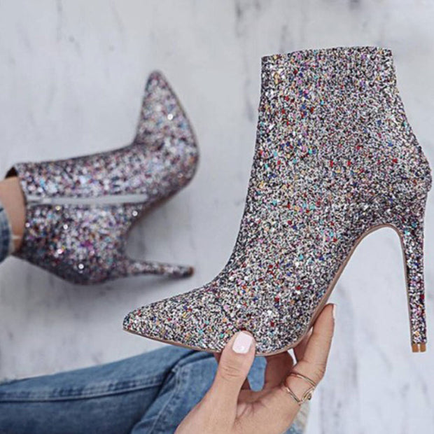 Stylish Sequin Pointed Toe High Heels