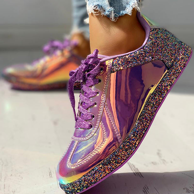Glitter Colorblock Lace-up Sneakers - Shop Shiningbabe - Womens Fashion Online Shopping Offering Huge Discounts on Shoes - Heels, Sandals, Boots, Slippers; Clothing - Tops, Dresses, Jumpsuits, and More.