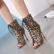 Roman Leopard-printed Pointed Strap High Heel Boots - Shop Shiningbabe - Womens Fashion Online Shopping Offering Huge Discounts on Shoes - Heels, Sandals, Boots, Slippers; Clothing - Tops, Dresses, Jumpsuits, and More.