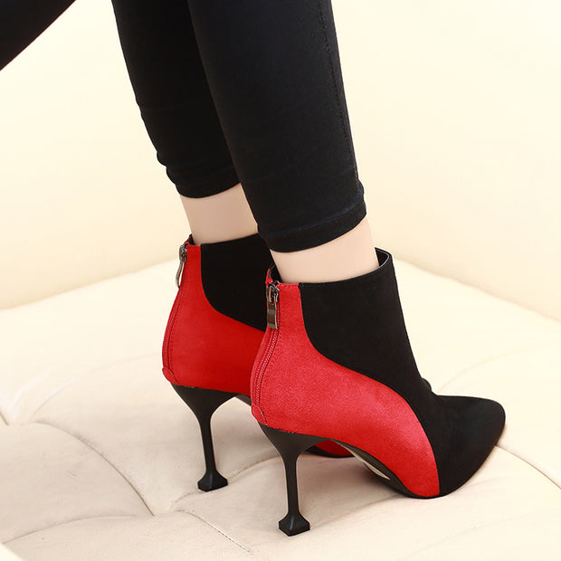 Contrast Color Pointed Platform High Heel Boots(inner velvet) - Shop Shiningbabe - Womens Fashion Online Shopping Offering Huge Discounts on Shoes - Heels, Sandals, Boots, Slippers; Clothing - Tops, Dresses, Jumpsuits, and More.