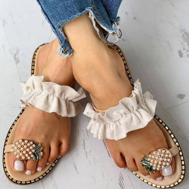 Pineapple Pattern Toe Ring Frill Hem Casual Sandals - Shop Shiningbabe - Womens Fashion Online Shopping Offering Huge Discounts on Shoes - Heels, Sandals, Boots, Slippers; Clothing - Tops, Dresses, Jumpsuits, and More.
