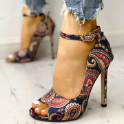 Ethnic Print Peep Toe Ankle Strap Thin Heeled Sandals - Shop Shiningbabe - Womens Fashion Online Shopping Offering Huge Discounts on Shoes - Heels, Sandals, Boots, Slippers; Clothing - Tops, Dresses, Jumpsuits, and More.