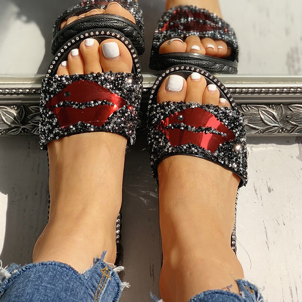 Mouth Studded Design Flat Sandals - Shop Shiningbabe - Womens Fashion Online Shopping Offering Huge Discounts on Shoes - Heels, Sandals, Boots, Slippers; Clothing - Tops, Dresses, Jumpsuits, and More.
