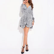 Irregular Long Sleeve V-neck Knit Dress - Shop Shiningbabe - Womens Fashion Online Shopping Offering Huge Discounts on Shoes - Heels, Sandals, Boots, Slippers; Clothing - Tops, Dresses, Jumpsuits, and More.