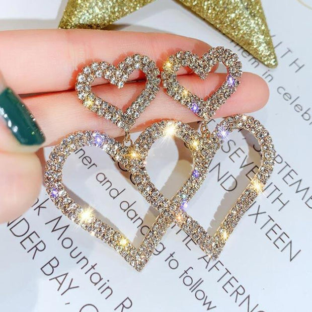 Heart Pattern Studded Drop Earrings