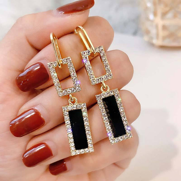 Studded Square Pattern Drop Earrings