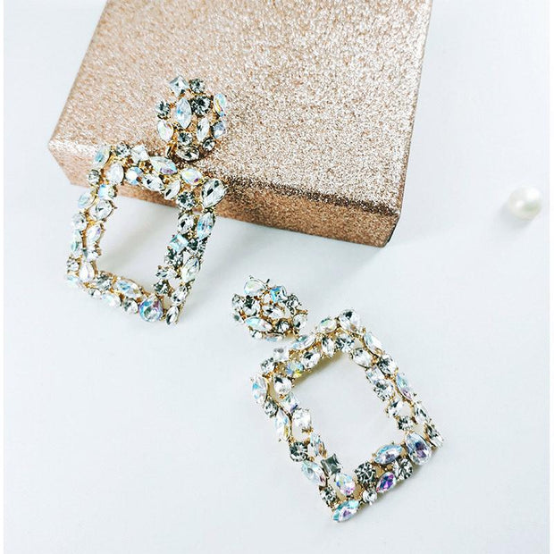 Geometry Pattern Studded Drop Earrings