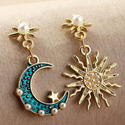 Sun Moon Pattern Beaded Drop Earring