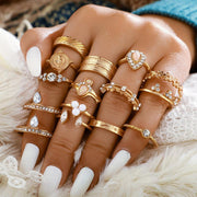 15PCS Beaded Studded Rings Set
