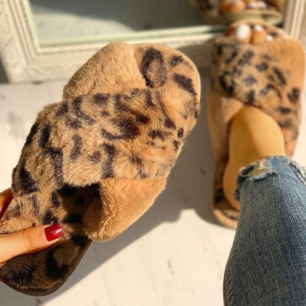 Fluffy Leopard Crisscross Peep Toe Slippers - Shop Shiningbabe - Womens Fashion Online Shopping Offering Huge Discounts on Shoes - Heels, Sandals, Boots, Slippers; Clothing - Tops, Dresses, Jumpsuits, and More.