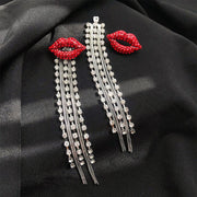 Studded Lip Pattern Tassel Design Earrings