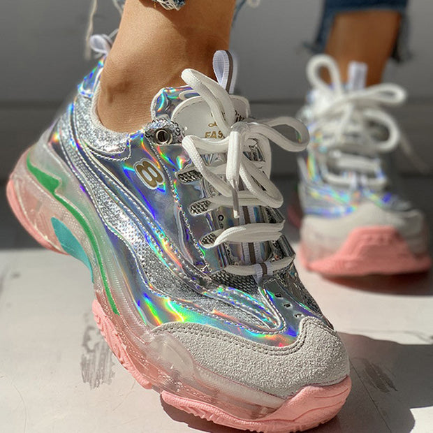 Glitter Colorblock Breathable Lace-up Sneakers - Shop Shiningbabe - Womens Fashion Online Shopping Offering Huge Discounts on Shoes - Heels, Sandals, Boots, Slippers; Clothing - Tops, Dresses, Jumpsuits, and More.