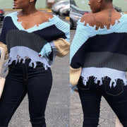 Colorblock V-Neck Bat Sleeve Sweater