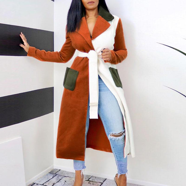 Colorblock Pocket Design Long Trench Coat With Belt