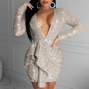 Sequins Deep V-Neck Irregular Design Party Dress