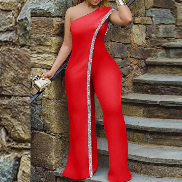Glitter One Shoulder Sleeveless Jumpsuit