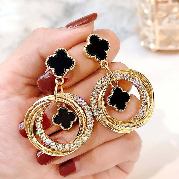 Flower Pattern Studded Drop Earrings