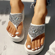 Studded Toe Post Platform Wedge Sandals - Shop Shiningbabe - Womens Fashion Online Shopping Offering Huge Discounts on Shoes - Heels, Sandals, Boots, Slippers; Clothing - Tops, Dresses, Jumpsuits, and More.
