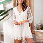 V-neck Lace Stitching Embroidered Dress - Shop Shiningbabe - Womens Fashion Online Shopping Offering Huge Discounts on Shoes - Heels, Sandals, Boots, Slippers; Clothing - Tops, Dresses, Jumpsuits, and More.