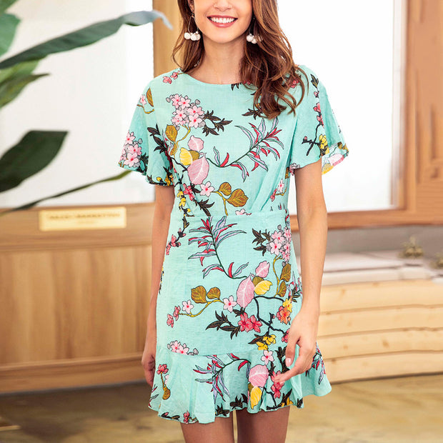Printed Round Neck Holiday Dress - Shop Shiningbabe - Womens Fashion Online Shopping Offering Huge Discounts on Shoes - Heels, Sandals, Boots, Slippers; Clothing - Tops, Dresses, Jumpsuits, and More.