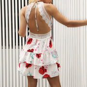 Lace Halter Sexy Backless Print Dress - Shop Shiningbabe - Womens Fashion Online Shopping Offering Huge Discounts on Shoes - Heels, Sandals, Boots, Slippers; Clothing - Tops, Dresses, Jumpsuits, and More.