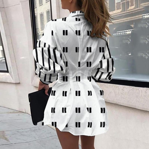 Print Twisted Design Shirt Dress