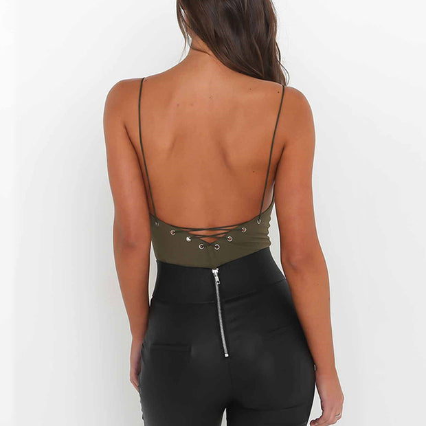 Deep V Open Back Eyelet Strap Sling Jumpsuit - Shop Shiningbabe - Womens Fashion Online Shopping Offering Huge Discounts on Shoes - Heels, Sandals, Boots, Slippers; Clothing - Tops, Dresses, Jumpsuits, and More.