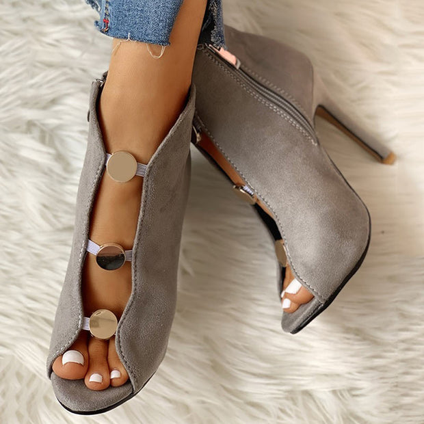 Suede Metal Buttoned Peep Toe Thin Heeled Boot - Shop Shiningbabe - Womens Fashion Online Shopping Offering Huge Discounts on Shoes - Heels, Sandals, Boots, Slippers; Clothing - Tops, Dresses, Jumpsuits, and More.