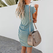 Sexy Round Neck Bag Hip Irregular Dress - Shop Shiningbabe - Womens Fashion Online Shopping Offering Huge Discounts on Shoes - Heels, Sandals, Boots, Slippers; Clothing - Tops, Dresses, Jumpsuits, and More.