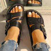 Buckle Strappy Open Toe Flat Sandals - Shop Shiningbabe - Womens Fashion Online Shopping Offering Huge Discounts on Shoes - Heels, Sandals, Boots, Slippers; Clothing - Tops, Dresses, Jumpsuits, and More.