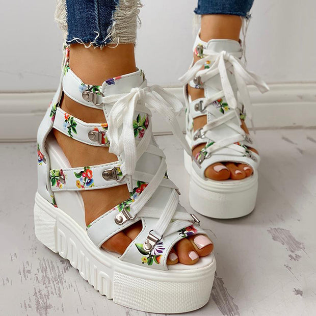 Lace-Up Cut Out Wedge Sandals - Shop Shiningbabe - Womens Fashion Online Shopping Offering Huge Discounts on Shoes - Heels, Sandals, Boots, Slippers; Clothing - Tops, Dresses, Jumpsuits, and More.