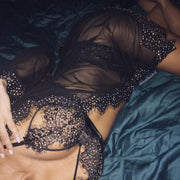 Sexy Rhinestone Lace Two Piece Lingerie Set