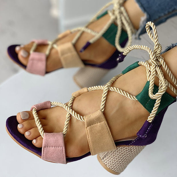 Colourblock Lace-up Chunky Heels Open Toe Sandals - Shop Shiningbabe - Womens Fashion Online Shopping Offering Huge Discounts on Shoes - Heels, Sandals, Boots, Slippers; Clothing - Tops, Dresses, Jumpsuits, and More.