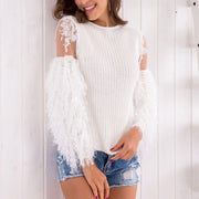 Splicing Pullover Sweater Top - Shop Shiningbabe - Womens Fashion Online Shopping Offering Huge Discounts on Shoes - Heels, Sandals, Boots, Slippers; Clothing - Tops, Dresses, Jumpsuits, and More.