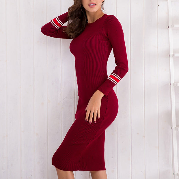 Slim-fit Knit Midi Dress - Shop Shiningbabe - Womens Fashion Online Shopping Offering Huge Discounts on Shoes - Heels, Sandals, Boots, Slippers; Clothing - Tops, Dresses, Jumpsuits, and More.