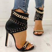 Rivet Chain Design Thin Heeled Sandals - Shop Shiningbabe - Womens Fashion Online Shopping Offering Huge Discounts on Shoes - Heels, Sandals, Boots, Slippers; Clothing - Tops, Dresses, Jumpsuits, and More.