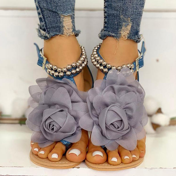 Mesh Floral Embellished Beaded Flat Sandals - Shop Shiningbabe - Womens Fashion Online Shopping Offering Huge Discounts on Shoes - Heels, Sandals, Boots, Slippers; Clothing - Tops, Dresses, Jumpsuits, and More.