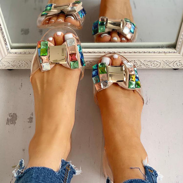 Studded Bowknot Design Peep Toe Flat Sandals - Shop Shiningbabe - Womens Fashion Online Shopping Offering Huge Discounts on Shoes - Heels, Sandals, Boots, Slippers; Clothing - Tops, Dresses, Jumpsuits, and More.