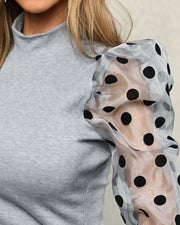 Cowl Neck Polka Sleeve Top - Shop Shiningbabe - Womens Fashion Online Shopping Offering Huge Discounts on Shoes - Heels, Sandals, Boots, Slippers; Clothing - Tops, Dresses, Jumpsuits, and More.